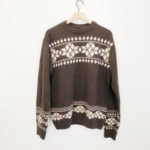 Billabong Brown Fair Isle Sweater Size Large